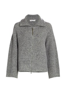 Fabiana Filippi Bouclé Knit Stand-Collar Zip-Front Cardigan