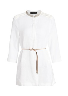 Fabiana Filippi Brilliant-Neck Belted Linen Tunic Top
