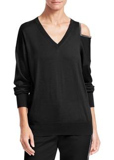 Fabiana Filippi Cashmere Cold-Shoulder V-Neck Sweater