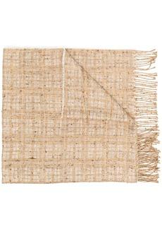 Fabiana Filippi check patterned frayed edge scarf