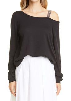 Fabiana Filippi Bead Trim One-Shoulder Sweater
