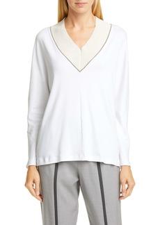 Fabiana Filippi Bead Trim V-Neck Cotton Blend Sweater