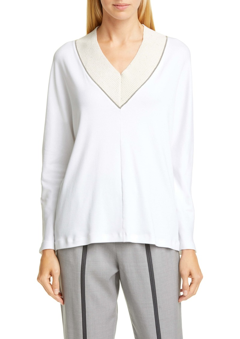 Fabiana Filippi Bead Trim V-Neck Cotton Blend Sweater