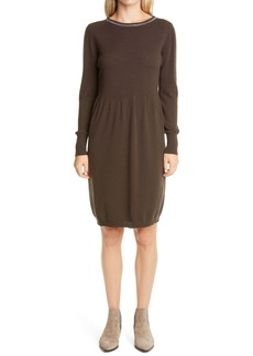 Fabiana Filippi Bead Trim Wool, Silk & Cashmere Long Sleeve Sweater Dress