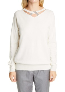 Fabiana Filippi Beaded Knot Neck Wool, Silk & Cashmere Sweater