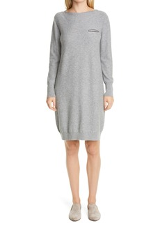 Fabiana Filippi Beaded Pocket Long Sleeve Wool, Silk & Cashmere Sweater Dress