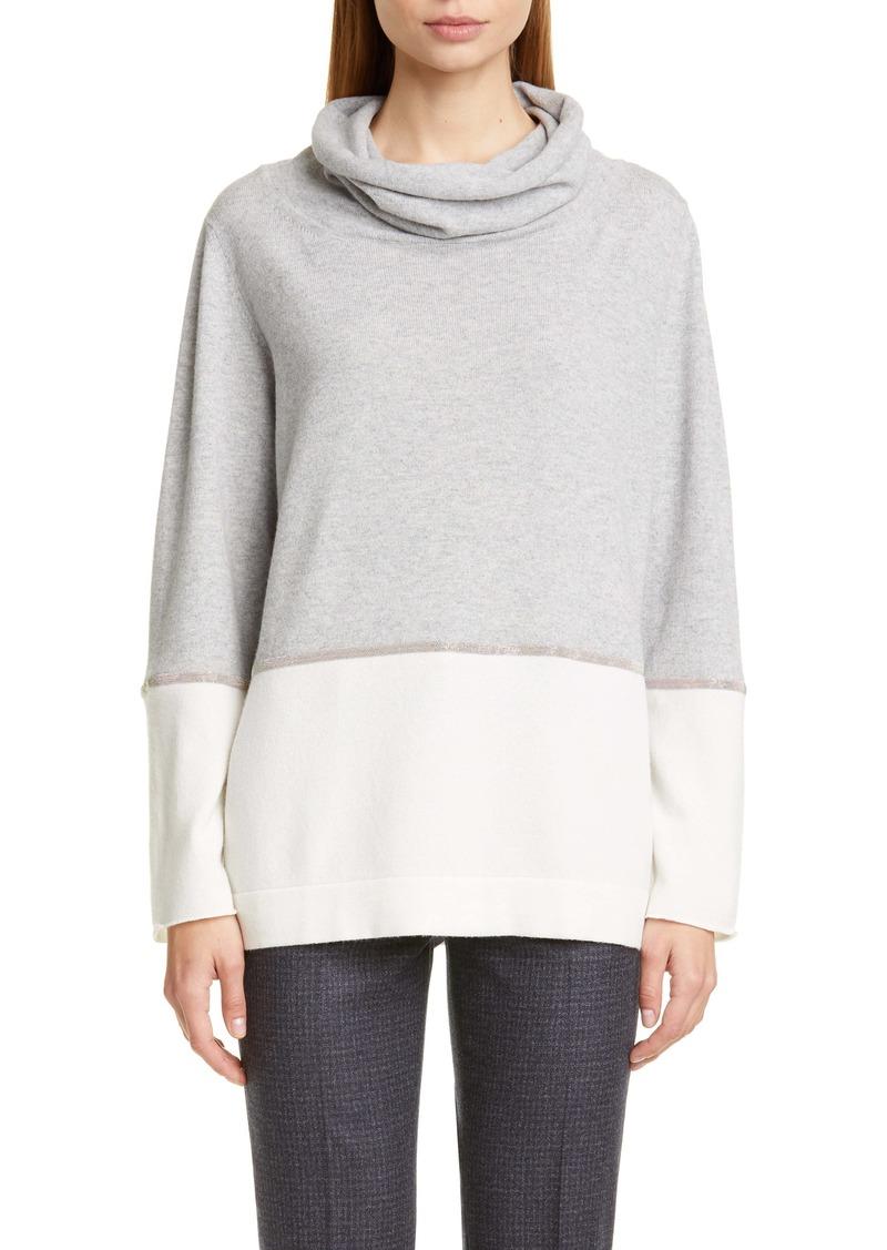 Fabiana Filippi Bicolor Chain Trim Wool, Silk and Cashmere Sweater