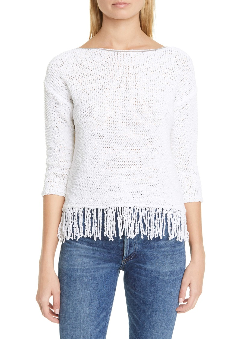Fabiana Filippi Chain Trim Fringe Hem Cotton Blend Sweater