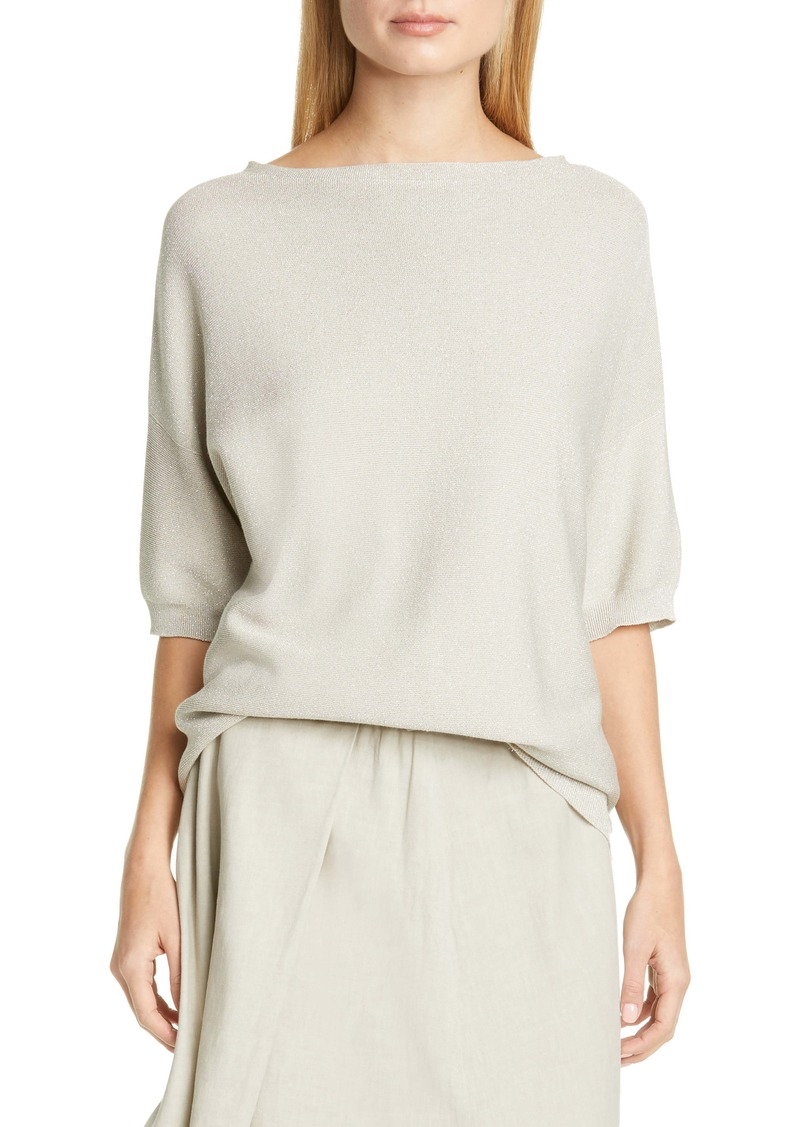 Fabiana Filippi Drop Shoulder Metallic Cotton Blend Sweater