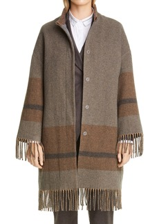 Fabiana Filippi Fringe Hem Wool Blend Coat