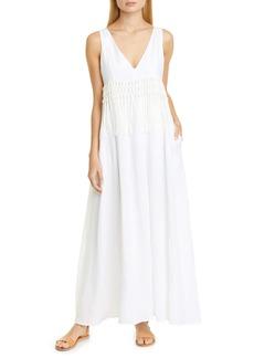 Fabiana Filippi Fringe Trim Linen Maxi Dress