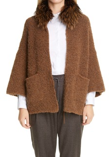 Fabiana Filippi Genuine Fox Collar Alpaca Blend Cardigan