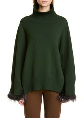 Fabiana Filippi Genuine Fox Cuff Wool, Silk & Cashmere Cape