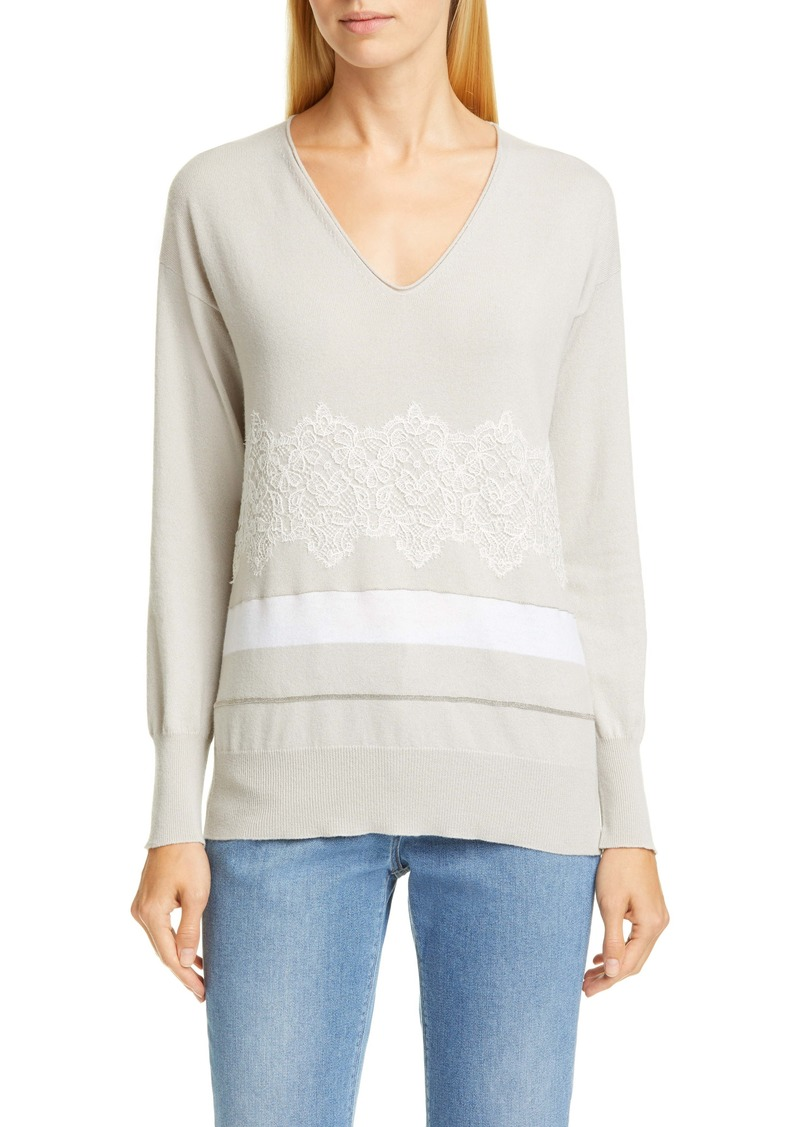 Fabiana Filippi Lace & Stripe Cashmere Sweater