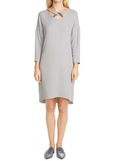 Fabiana Filippi Long Sleeve Beaded Knot Neck Shift Dress