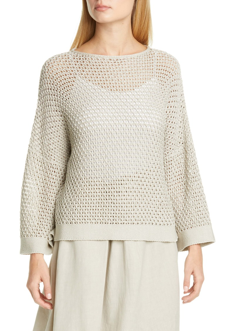 Fabiana Filippi Open Stitch Metallic Cotton Blend Sweater