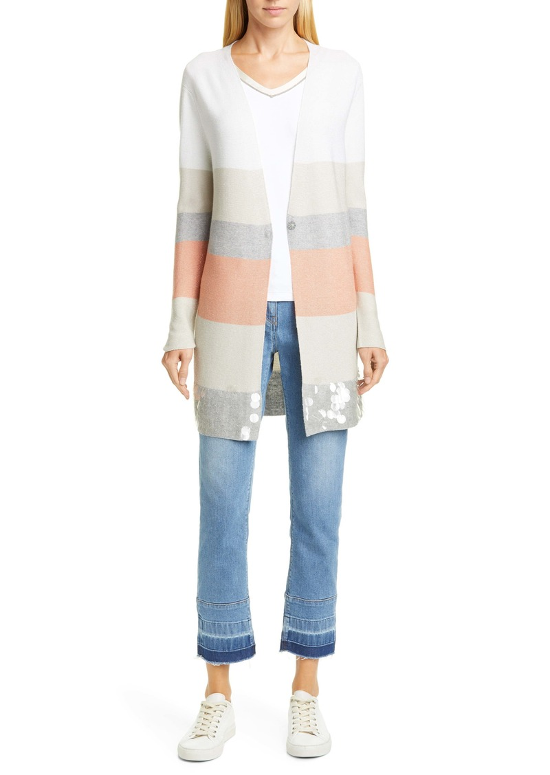 Fabiana Filippi Paillette Hem Metallic Stripe Wool Blend Cardigan
