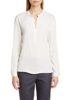 Fabiana Filippi Satin & Jersey Pullover Blouse