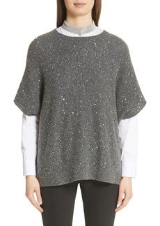 Fabiana Filippi Sequin Wool, Silk & Cashmere Blend Poncho