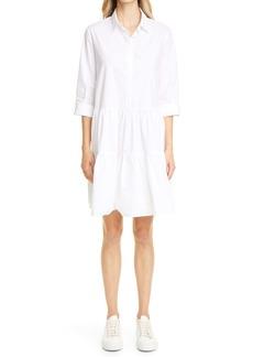 Fabiana Filippi Sleeve Detail Flounce Cotton Poplin Shirtdress