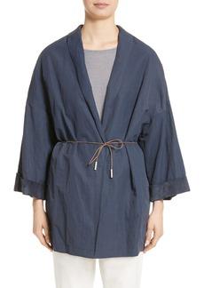 Fabiana Filippi Suede & Cotton Blend Kimono Jacket