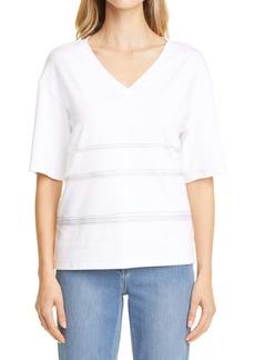 Fabiana Filippi Tulle Detail Jersey T-Shirt