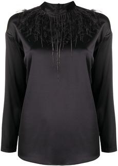 Fabiana Filippi feather-trimmed satin blouse