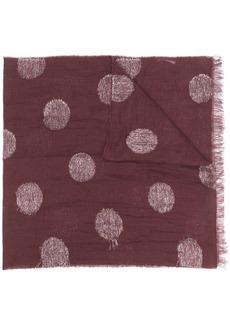 Fabiana Filippi polka dot patterned frayed edge scarf
