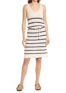 Faherty Out East Stripe Linen & Organic Cotton Sweater Dress