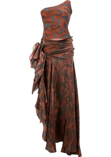 Faith camouflage asymmetric off-shoulder gown