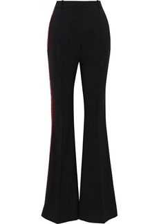 Faith Connexion Woman Embroidered Satin-trimmed Twill Flared Pants Black