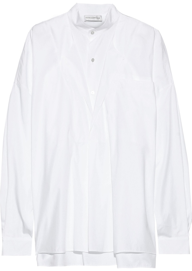 Faith Connexion Woman Oversized Layered Cotton-poplin Shirt White