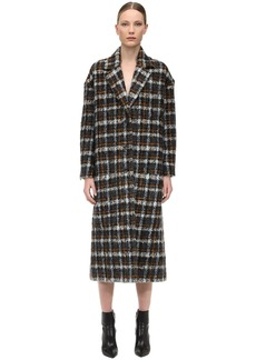 Faith Connexion Long Check Wool Blend Coat