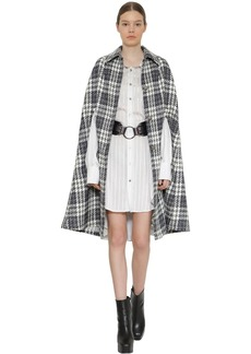Faith Connexion Long Wool Blend Houndstooth Cape