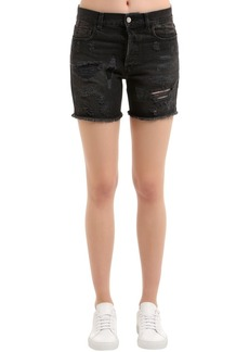 Faith Destroyed Cotton Denim Shorts