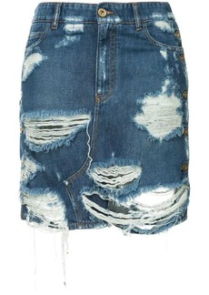 Faith distressed denim skirt