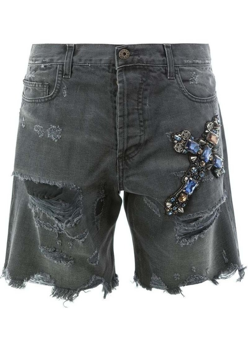 Faith distressed jewelled cross shorts