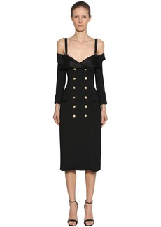 Faith Double Breasted Wool Dress W/ Straps