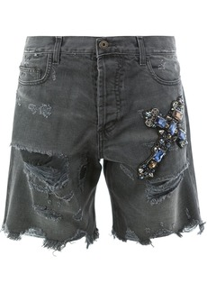 Faith Connexion distressed jewelled cross shorts - Black