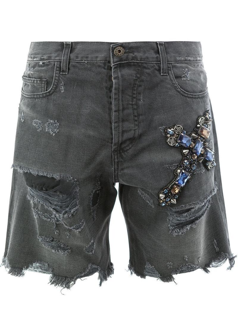 Faith distressed jewelled cross shorts