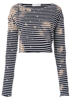 Faith embroidered striped cropped top