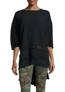 Faith High-Low Crepe Lace Top