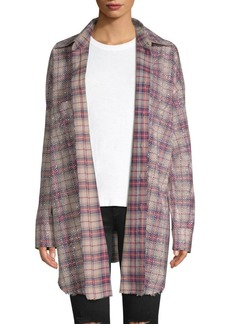 Faith Oversized Plaid Button-Front Top
