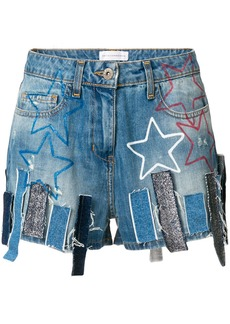 Faith Connexion patchwork denim shorts - Blue