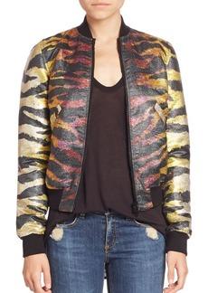 Faith Reversible Tiger-Print Bomber Jacket