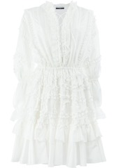Faith Connexion ruffle lace-up dress - White