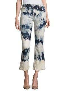Faith Tie-Dye Cropped Flared Jeans
