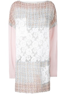 Faith Connexion tweed and lace patch mini dress - Multicolour