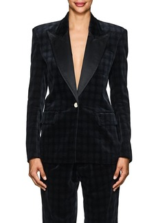 Faith Connexion Women's Plaid Velvety Cotton Boxy One-Button Blazer