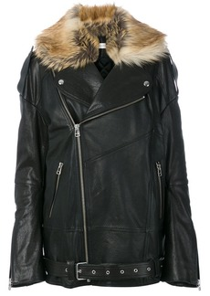 Faith faux fur trim leather jacket